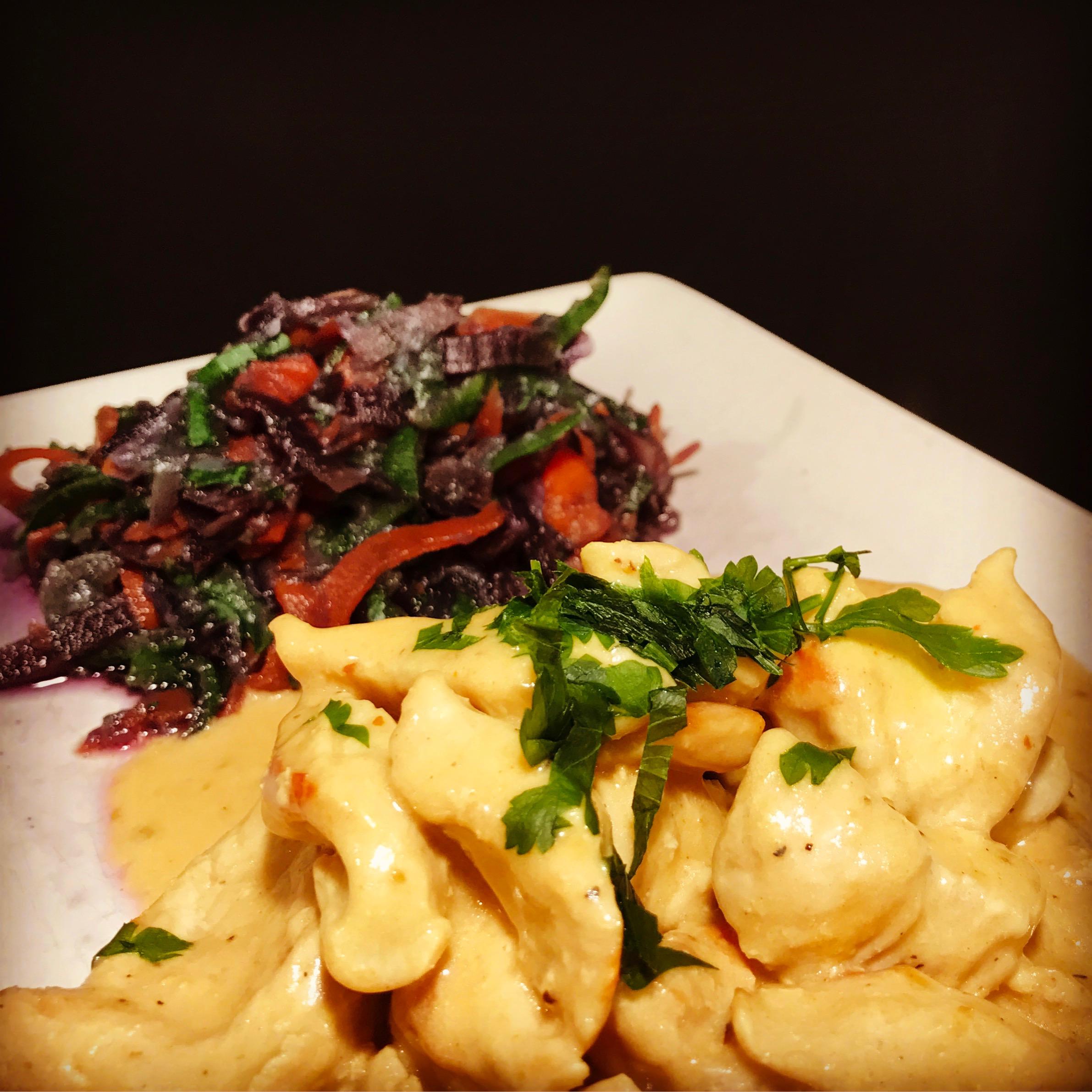 Gemüsenudeln mit Hähnchenkokoscurry - Kathis Rezepte