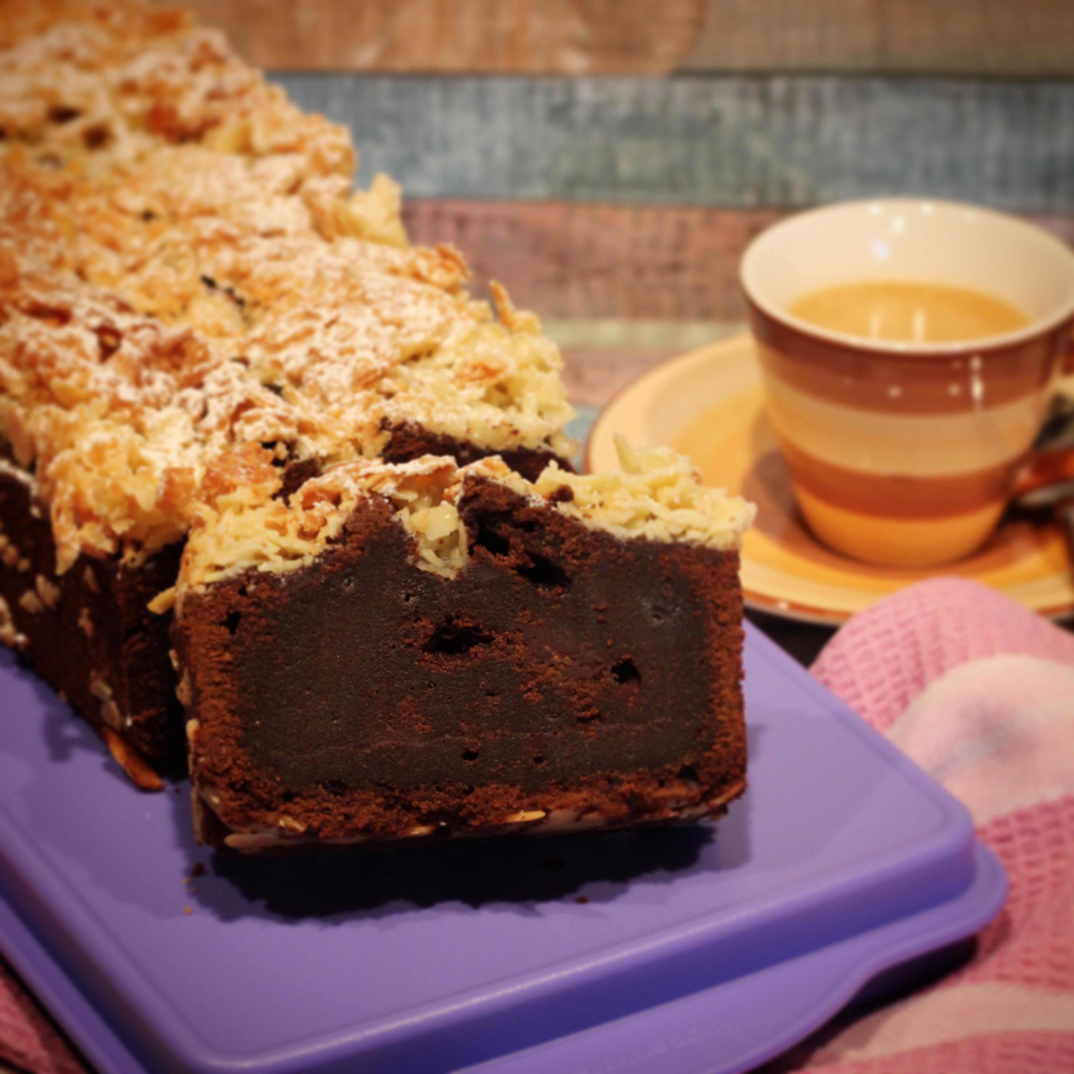 Schokoladenkuchen mit Bienenstichkruste - Kathis Rezepte (3)