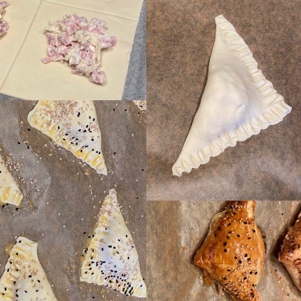 Blätterteigtaschen mit Schinken und Käse - Kathis Rezepte (2)